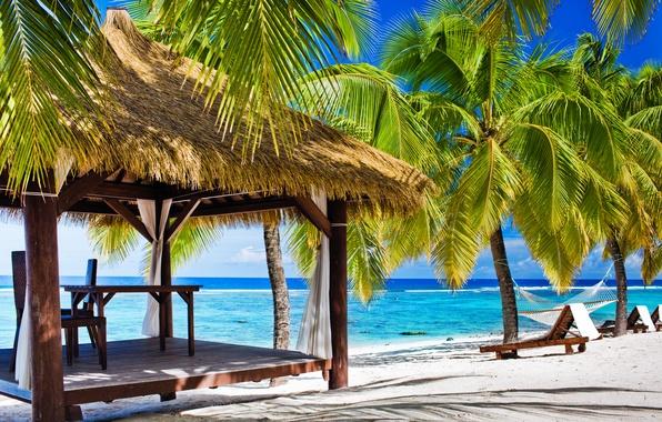 Картинка море, пляж, лето, пальма, отдых, берег, summer, beach, беседка, sea, arbor