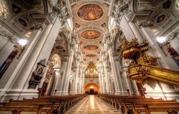 Картинка церковь, собор, религия, скамья