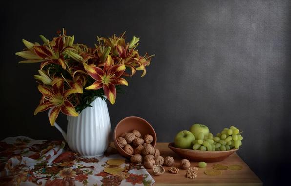 Картинка цветы, яблоки, лилии, виноград, орехи, натюрморт