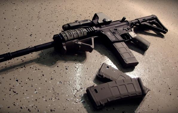 Фото обои автомат, пол, gun, обоймы