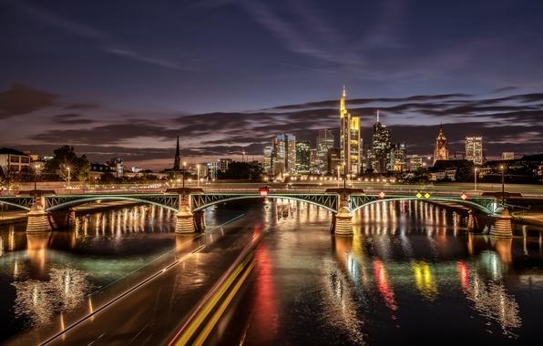 Картинка мост, огни, река, здания, Германия, ночной город, Germany, Франкфурт-на-Майне, Frankfurt am Main, Main River, река …
