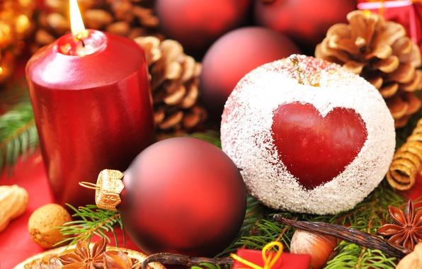Картинка праздник, шары, сердце, новый год, яблоко, рождество, свеча, new year, хвоя, шишки, пудра