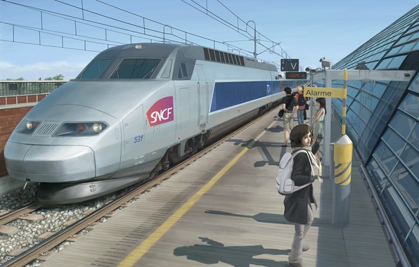 Картинка девушка, люди, вокзал, поезд, станция, арт, перрон, скоростной