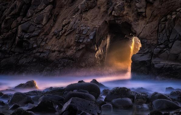 Картинка скала, камни, океан, sunset, California, pacific, Big Sur, Pfeiffer Beach