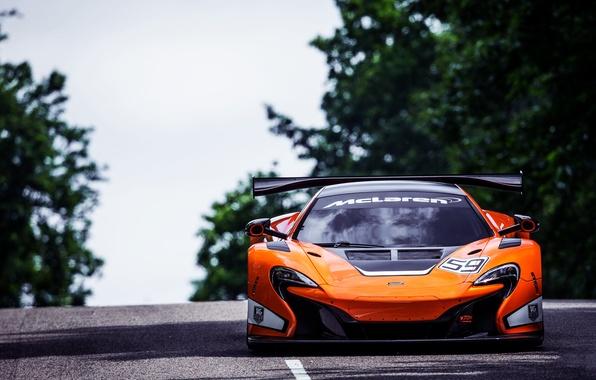 Картинка McLaren, Авто, Дорога, Спорт, Машина, Капот, Яркий, Фары, GT3, Передок, Спорткар, 650S