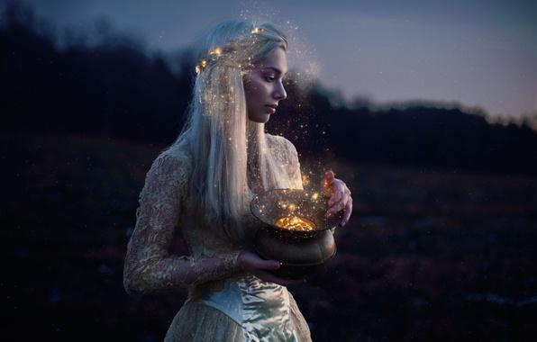Картинка девушка, настроение, магия, лампа, ситуация