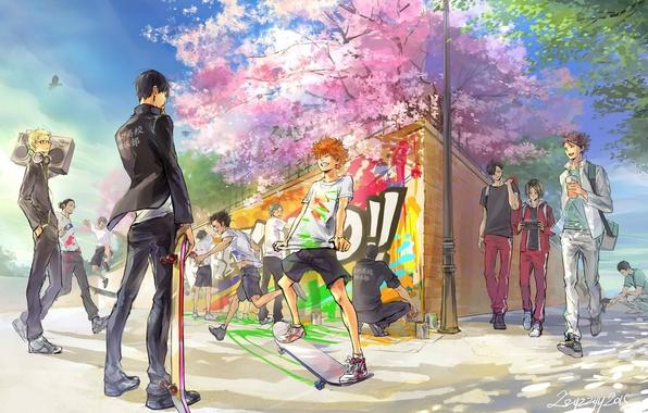 Картинка радость, аниме, сакура, арт, парни, Haikyuu!!, tobio kageyama, волейбол!!, asahi azumane, kozume kenma, shouyou hinata, …