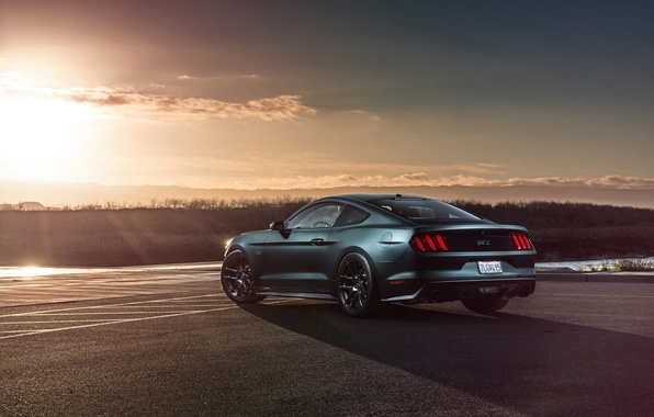 Картинка Mustang, Ford, Muscle, Car, Sunset, Wheels, Rear, 2015, Velgen