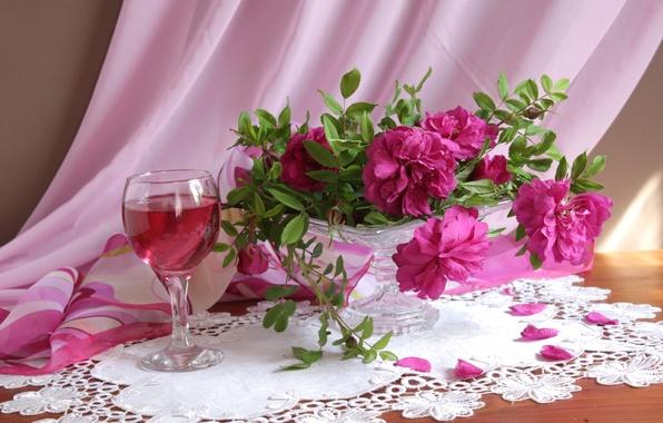 Картинка бокал, розы, букет