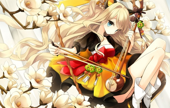 Картинка девушка, цветы, ветви, арт, vocaloid, бант, ушки, вокалоид, seeu, hajida