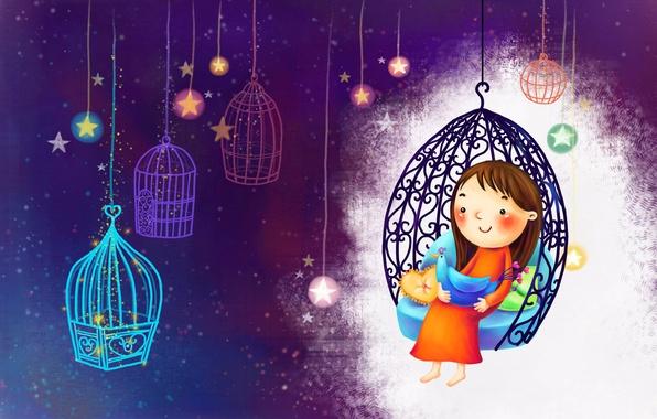 Картинка улыбка, рисунок, звёзды, клетка, девочка, птичка