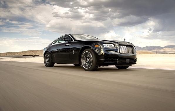 Картинка дорога, авто, небо, тучи, Rolls-Royce, передок, Wraith, Black Badge