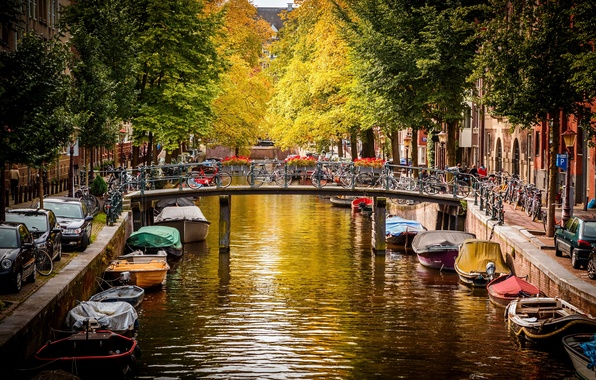 Картинка осень, вода, деревья, машины, мост, город, река, улица, лодки, Амстердам, канал, Нидерланды, Amsterdam, велосипеды, Nederland