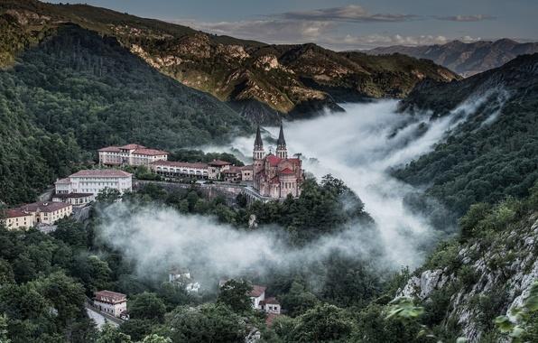Картинка горы, панорама, Испания, Spain, Asturias, Астурия, Covadonga, Ковадонга, Basílica de Santa María la Real, хребет …