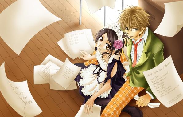 Картинка девушка, аниме, парень, anime, горничная, Kaichou wa Maid-sama, Takumi Usui, Misaki Ayuzawa