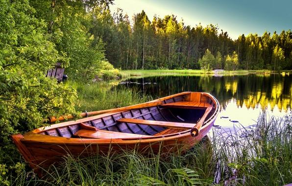Картинка деревья, пейзаж, природа, озеро, лодка