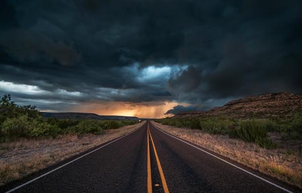 Картинка дорога, асфальт, облака, тучи, шторм, природа, вечер, США, штат Техас