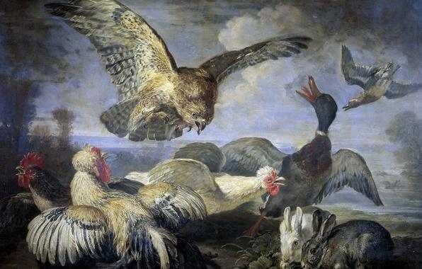 Картинка животные, птицы, картина, кролик, утка, куры, Нападение Коршуна, Давид Конинк