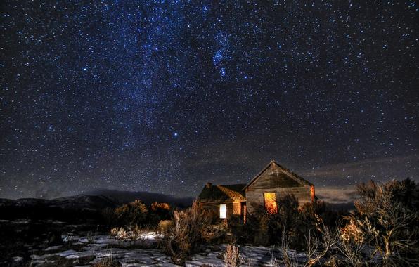 Картинка космос, звезды, ночь, домики, кусты