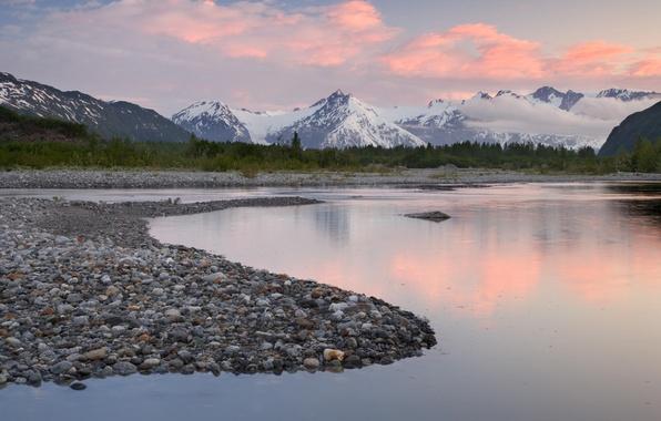 Картинка небо, облака, пейзаж, горы, природа, река, камни, nature, аляска, alaska