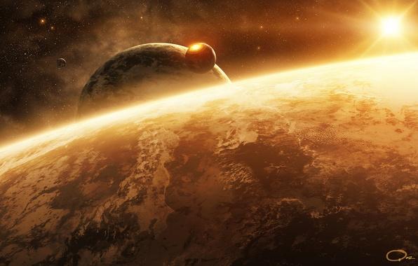 Картинка космос, поверхность, звезда, планета, спутник, арт, QAuZ