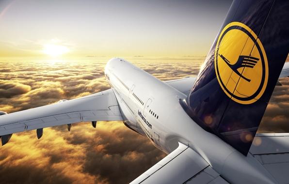 Картинка Закат, Солнце, Небо, Облака, Самолет, Горизонт, Лайнер, Полет, Высота, A380, Lufthansa, Пассажирский, Airbus
