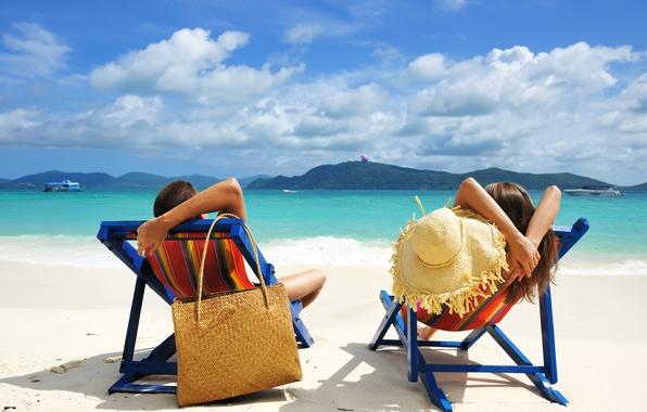 Картинка relax, girl, summer, beach, sky, sea, landscape, hat, nature, woman, water, clouds, people, man, boy, …