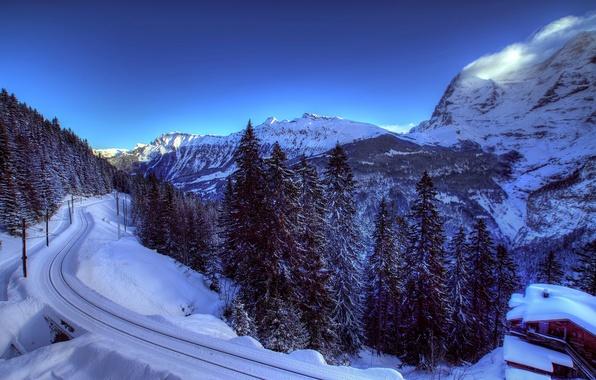 Картинка зима, снег, деревья, горы, природа, Швейцария, ели, Альпы, железная дорога, домик