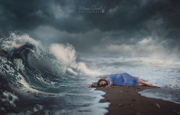 Картинка море, небо, девушка, dream, волшебство, магия, волна, сон, girl, magic, sea, sand, wave
