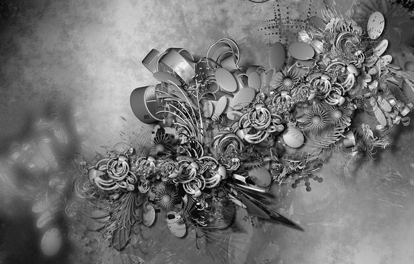 Фото обои цветы, черно-белое, текстура