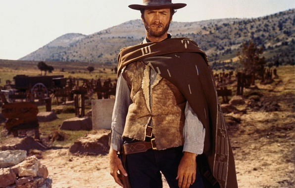 Картинка оружие, холм, кладбище, актер, злой, gun, клад, револьвер, actor, вестерн, хороший, клинт иствуд, плохой, coat, …