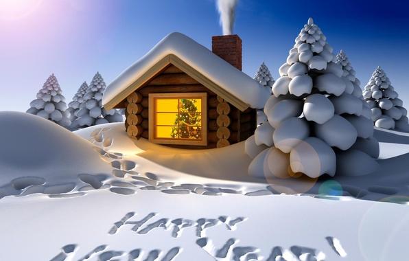 Картинка зима, снег, украшения, ночь, следы, праздник, надпись, дым, елки, новый год, сугробы, домик, гирлянда, поздравление