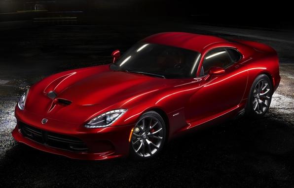 Картинка красный, Додж, Dodge, суперкар, полумрак, Viper, передок, GTS, Вайпер, SRT