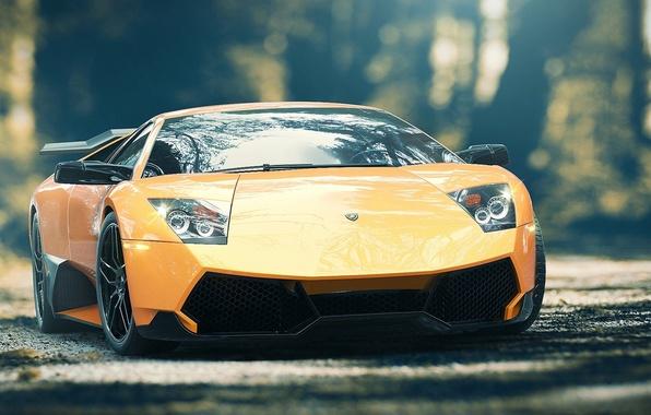 Картинка Lamborghini, Колеса, Фары, Диски, Суперкар, Lights, Murcielago, SuperVeloce, Yellow, LP670-4, Supercar, Wheels, Rims, Spoiler, Спойлер, …