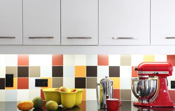 Картинка плитка, плоды, кухня, розетка, шкафы, миксер