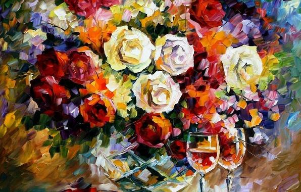 Картинка рисунок, розы, букет, бокалы, маслом