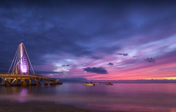 Картинка небо, облака, закат, тучи, мост, океан, берег, побережье, вечер, подсветка, Мексика