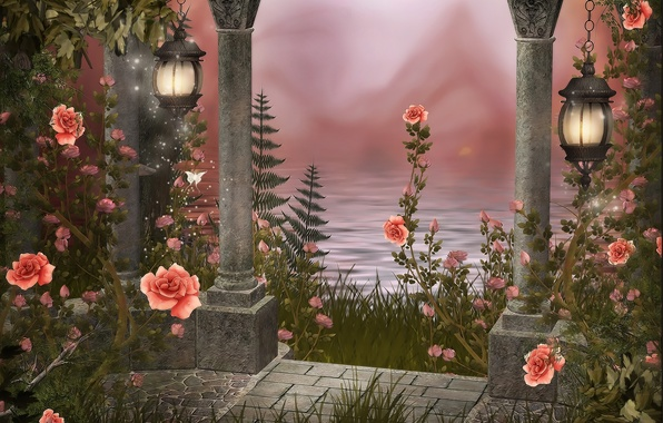 Картинка вода, рисунок, фонари, колонны, Розы