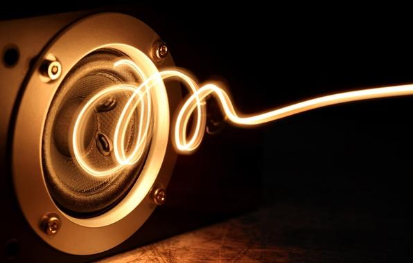 Картинка энергия, макро, свет, музыка, креатив, сила, свечение, позитив, спираль, music, колонка, динамик, power, energy, боке, …