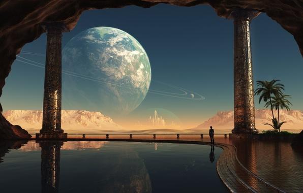 Картинка горы, город, отражение, человек, вид, планета, кольца, бассейн, пещера, купол, Фантастика