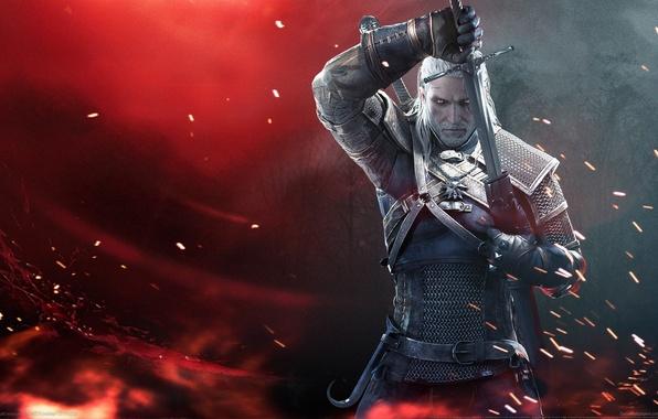 Картинка Меч, Воин, Борода, Броня, Ведьмак, The Witcher, Геральт, CD Projekt RED, The Witcher 3: Wild …