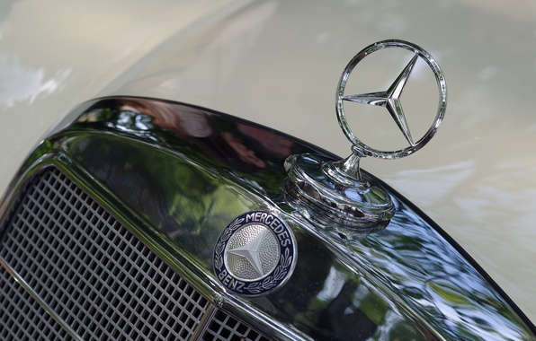 Фото обои значок, Mercedes-Benz, капот, бренд