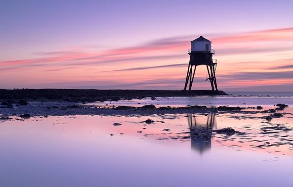 Картинка море, небо, рассвет, берег, маяк, Англия, Великобритания, сиреневое