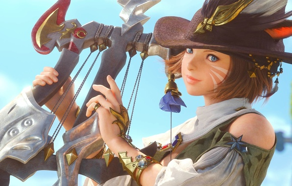 Картинка девушка, шляпа, перья, арфа, уши, Final Fantasy, раскраска, бард, кошачьи глаза, A Realm Reborn, XIV