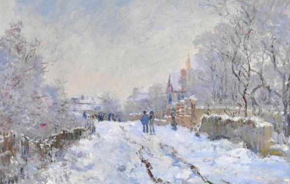 Картинка зима, пейзаж, картина, Клод Моне, Снежная Сцена в Аржантёе
