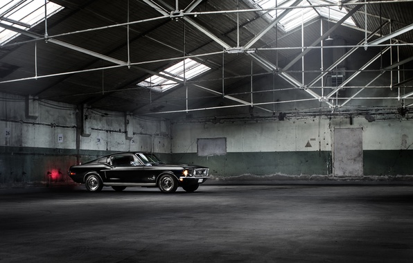 Картинка Mustang, Ford, Muscle, Car, Classic, Black, Fastback, Warehouse