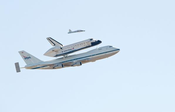 Картинка Небо, Самолет, Полет, Boeing, NASA, Боинг, 747, НАСА, Шаттл, Endeavour, Индевор
