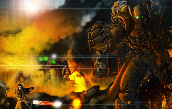 Картинка металл, оружие, огонь, робот, меч, арт, дуло, мужчина, пушка