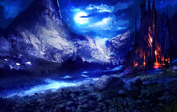 Картинка небо, ночь, фантастика, луна, арт