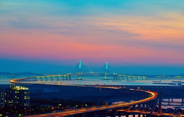 Обои город, инчхон, корея, мост, огни ...: goodfon.ru/wallpaper/484576.html